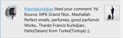 franciskurkdjian instagram hesabı TurkParfum yorumunu beğenmesi like liked to comment.jpg