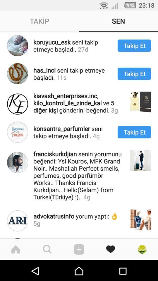 franciskurkdjian instagram hesabı TurkParfum yorumunu beğenmesi like liked to comment tlf f k.jpg