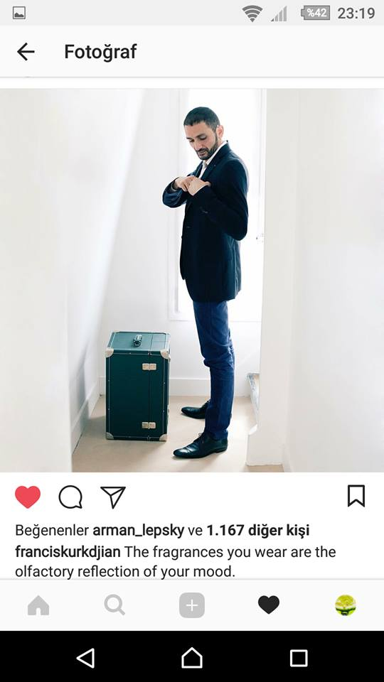 franciskurkdjian instagram hesabı TurkParfum yorumunu beğenmesi like liked to comment tlf2 f k.jpg