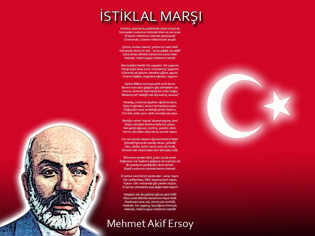 stiklal Marşı tamamı yazılı ve Mehmet Akif Ersoy resimi ve Türk Bayrağı Al-Yıldız Ma...png